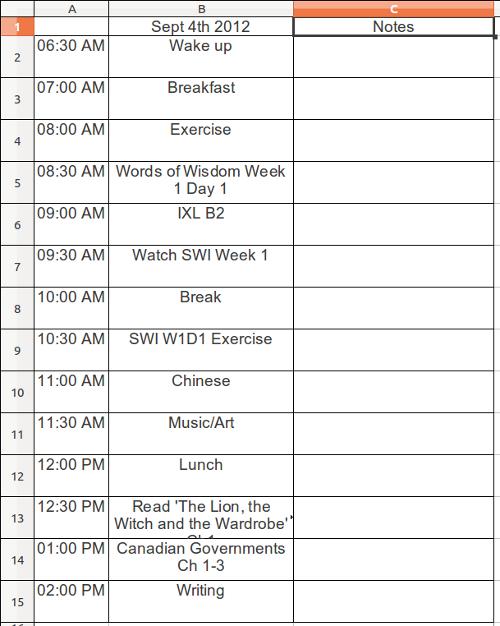 First Day Homeschooling Schedule