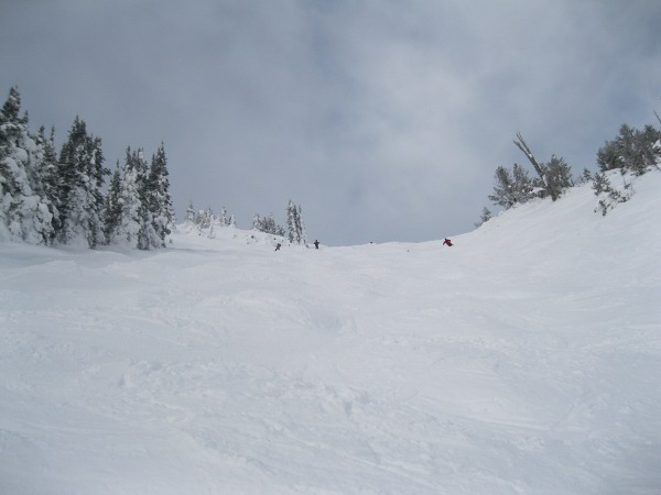 Skiing Black Diamond Sun Bowl Apex Looking Up
