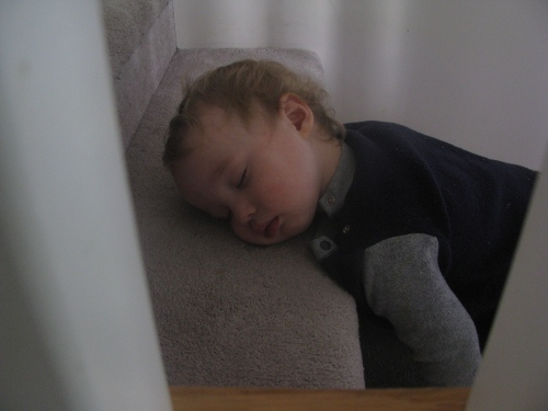 Close up of toddler asleep on stairs