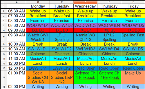 First Week Homeschooling schedule