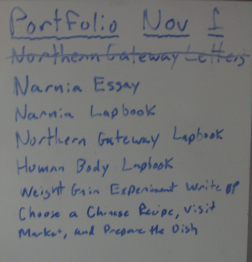 Homeschool Portfolio Todo list Update
