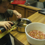 Kids cooking Kung Pao Chicken