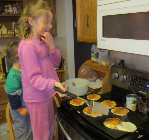 Margeret making Pancakes