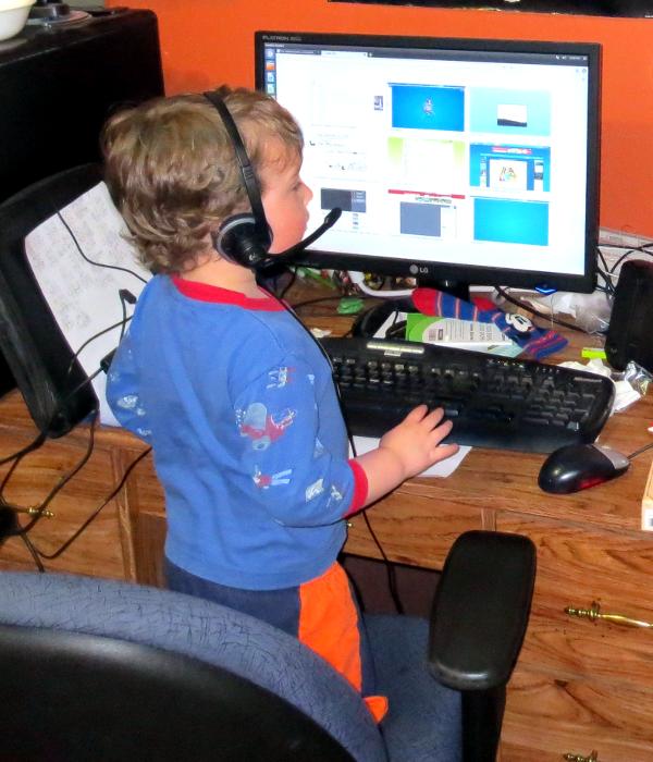 Ian on the computer