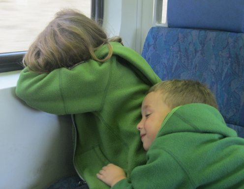 Tired kids on the train