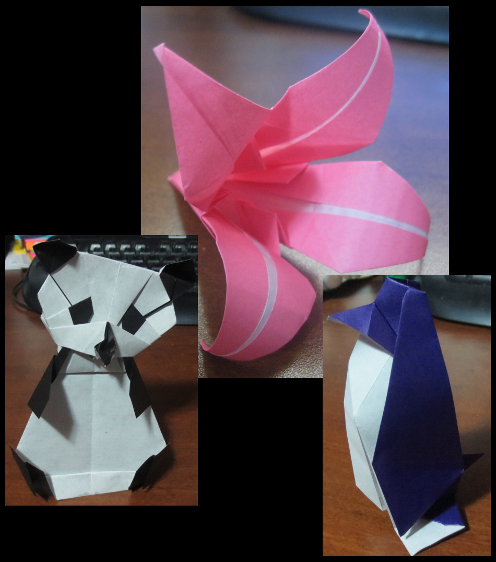 Origami Penguin, Lily and Panda Bear