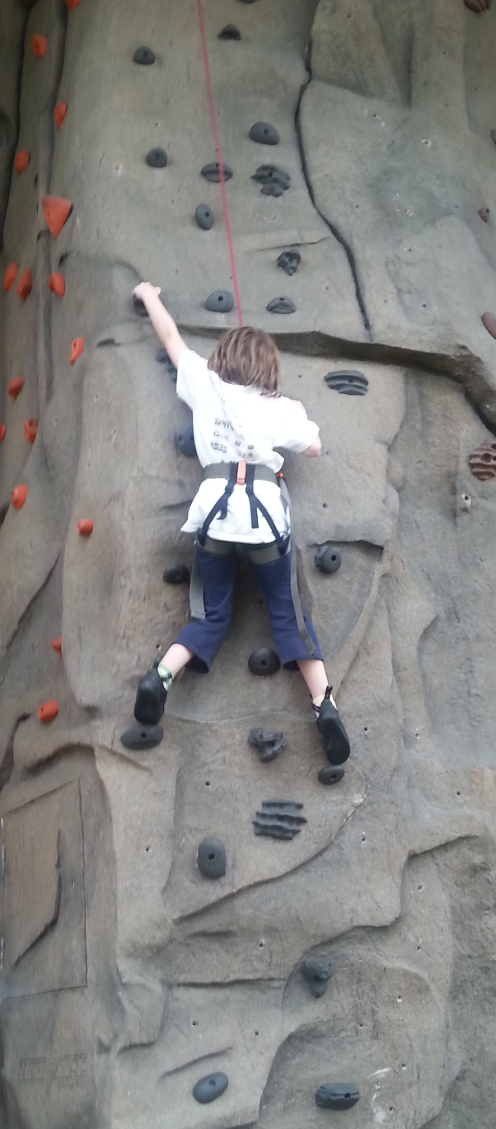 Margaret Climbing the wall at EnergPlex