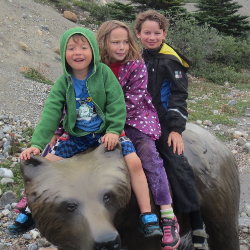 Kids on a bear