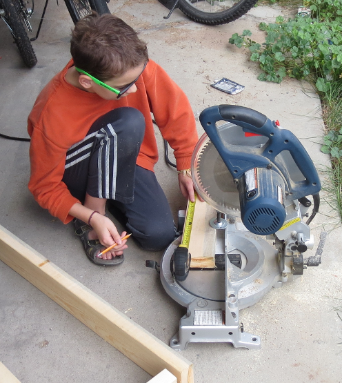 Philip Preparing to Use Mitre Saw