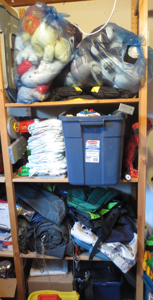 Basement Shelves Before