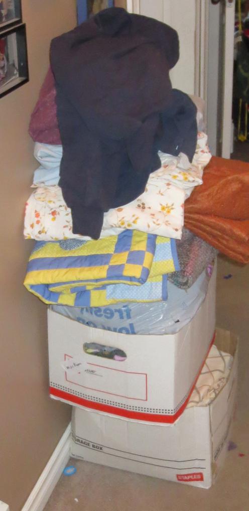 Linen Closet Purge Pile