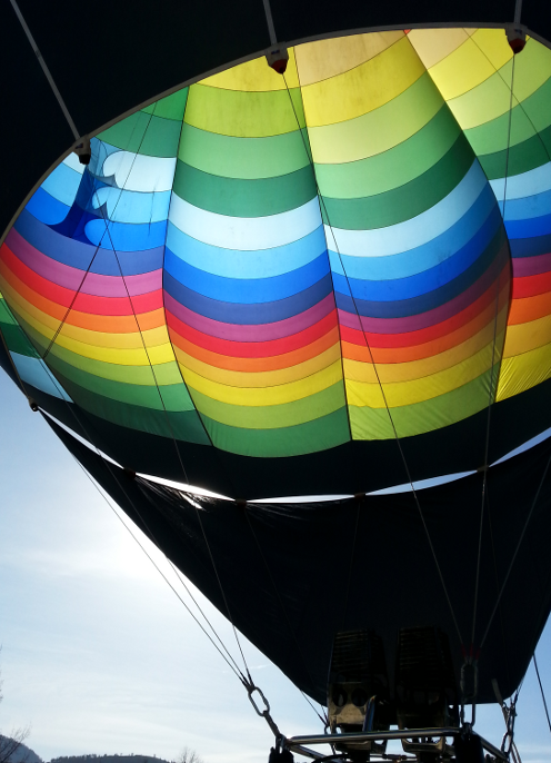 Looking up into Hot Air Balloon
