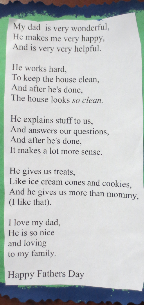 Margaret's Fathers Day Poem